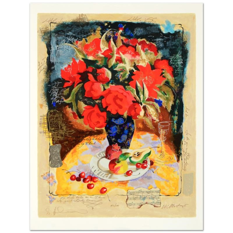 """Alexander And Wissotzky """"Red Flowers In A Vase"""""""