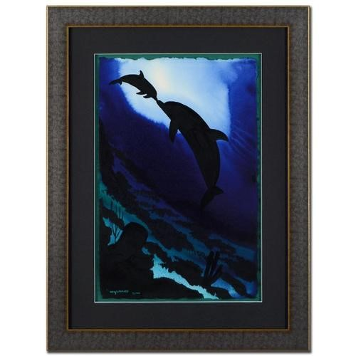 Wyland Original Dolphin And Calf With Reef