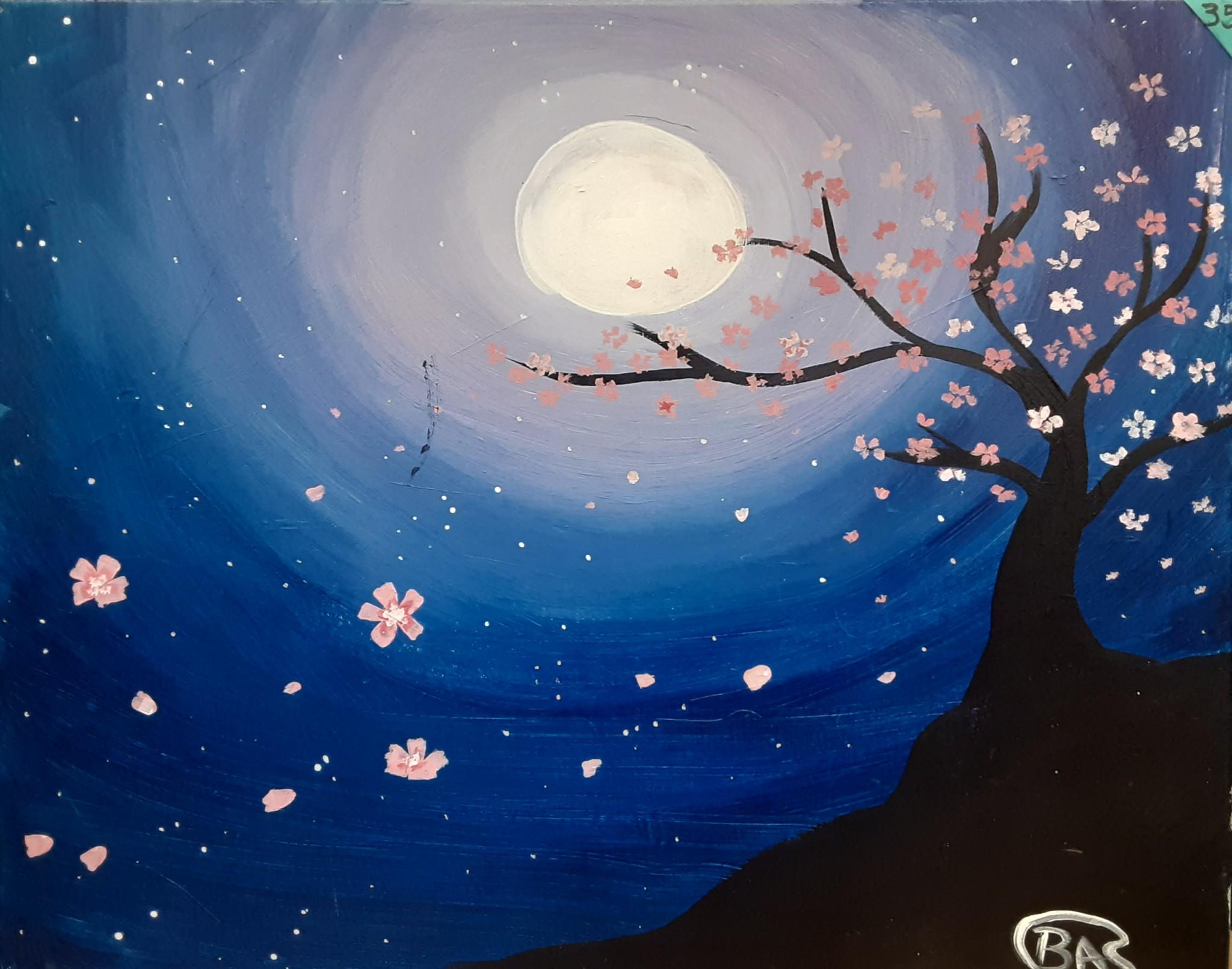 Moonlit Cherry Tree